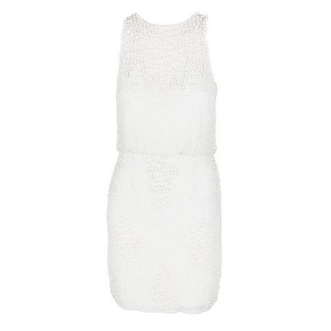Aidan Mattox White Sleeveless Beaded Blouson Cocktail Sheath Dress 2