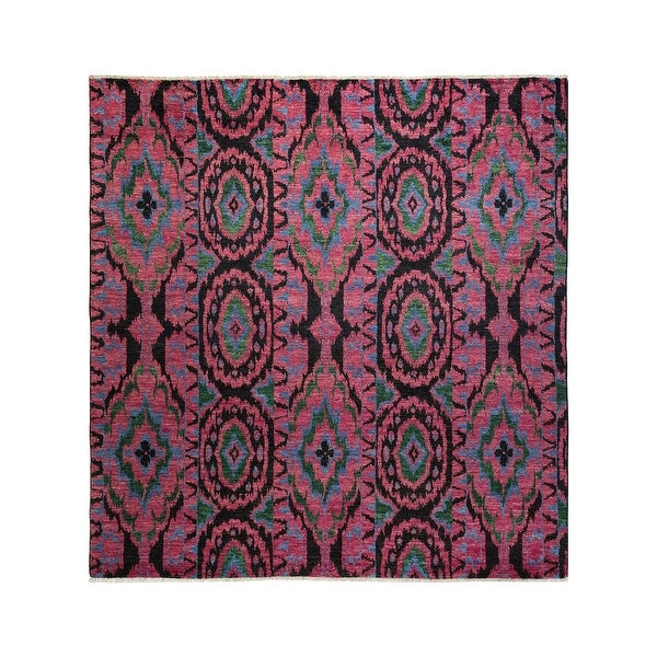 """Modern, One-of-a-Kind Hand-Knotted Area Rug - Purple, 8' 1"""" x 8' 5"""" - 8' 1"""" x 8' 5"""". Opens flyout."""