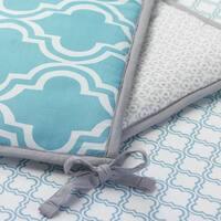 Lambs & Ivy Ryan Collection Aqua Blue/Gray 4-Piece Reversible Baby Crib Bumper