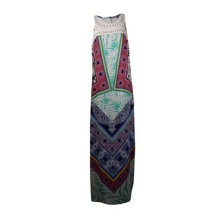 NY Collection Women's Crochet Top Printed Crepe Dress