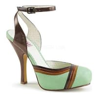 Pin Up Couture Women's Cutiepie 01 Ankle Strap Mint Multi Faux Leather