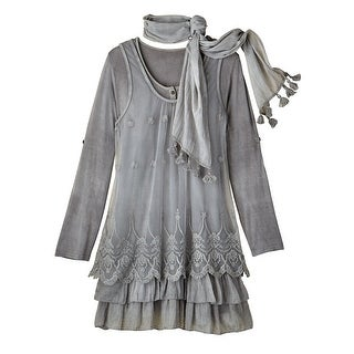 Women's Tunic Top - Lacey Layers 3-Pc. Set With Tasseled Scarf - Gray
