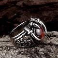 Vienna Jewelry Ruby Red Pearl Stainless Steel Ring - Thumbnail 1