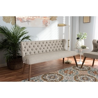 Baxton Studio Scarlett Mid-Century Brown/Beige Fabric Upholstered Button-Tufting with Nail Heads Trim 3-Seater Sofa