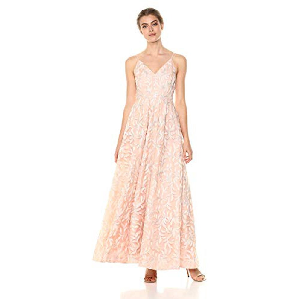 Calvin Klein Womens Sleeveless Embroidered V Neck Ball Gown Petal 8