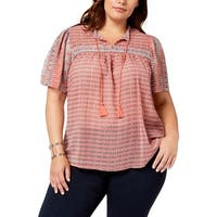 Lucky Brand Womens Plus Blouse Tie-Front Bell Sleeve