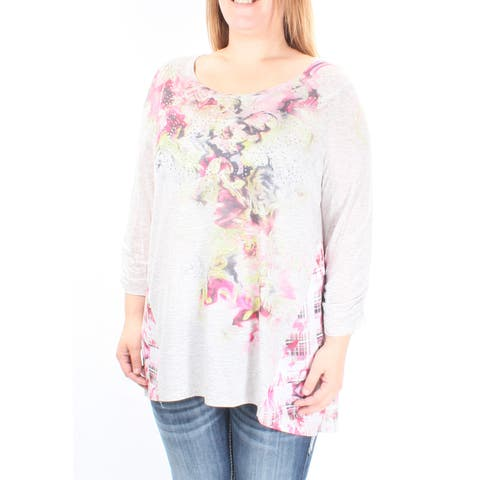 STYLE & CO Womens Gray Rhinestone Floral 3/4 Sleeve Scoop Neck Top Size: OX