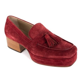 Roberto Cavalli Mes Red Suede Tassel Penny Bar Platform Loafers
