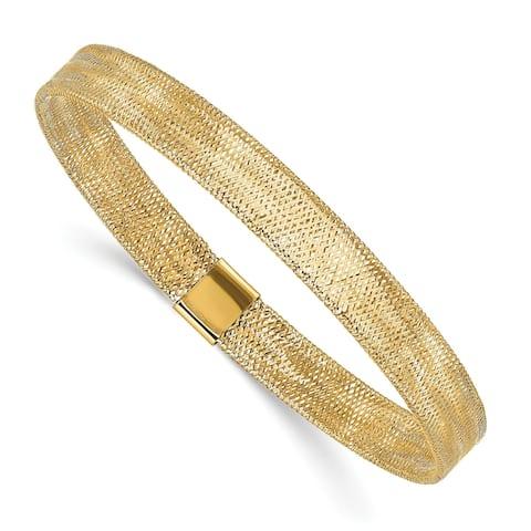 14K Yellow Gold High Polished Stretch Slip On Bangle by Versil
