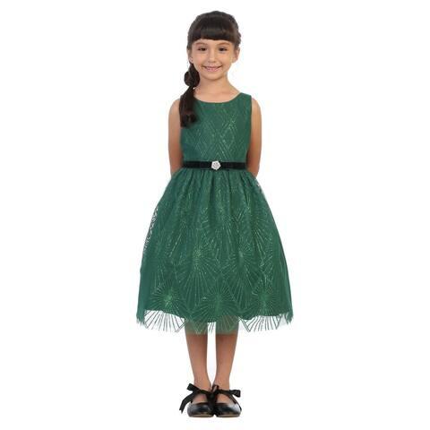 Kids Dream Girls Green Diamond Mesh Overlay Velvet Trim Christmas Dress
