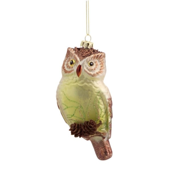 "5"" Enchanted Forest Glitter Owl with Pine Cones Christmas Ornament"
