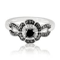 Beautiful 0.34 Carat Genuine Black Diamond With Diamond Effect Engagement Ring