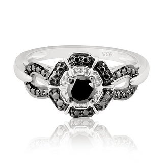Beautiful 0.34 Carat Genuine Black Diamond With Diamond Effect Engagement Ring (More options available)