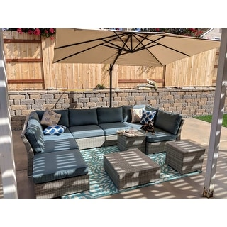 Corvus 10-piece Grey Wicker Patio Sectional Sofa Set with Blue Cushions