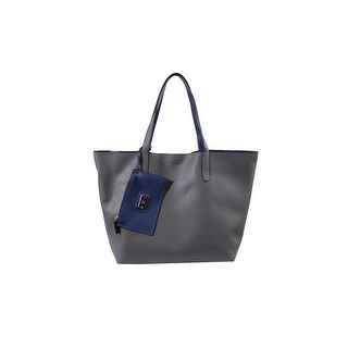 Style & Co. Grey Blue Clean Cut Reversible Tote Bag OS
