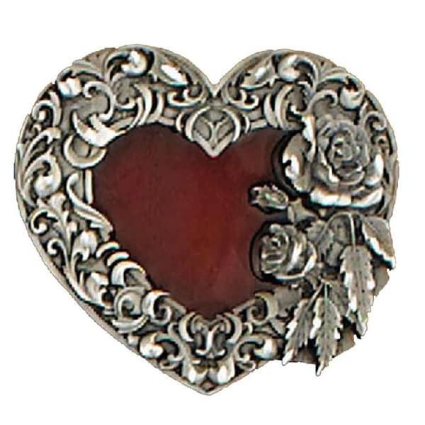 Red Enamel Heart Belt Buckle - One size