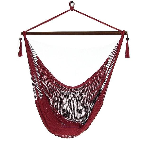 Sunnydaze Hanging Caribbean XL Hammock Chair & Hammock Stand Combo