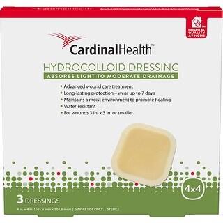 Cardinal Health 4-Inch x 4-Inch Hydrocolloid Dressing, 3 Count