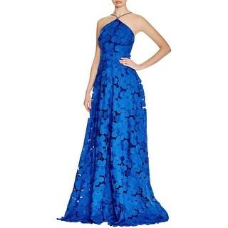 Badgley Mischka Womens Evening Dress Lace Overlay Floral