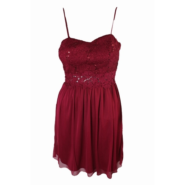 Bcx Juniors Maroon Crocheted Lace Fit & Flare Dress 5