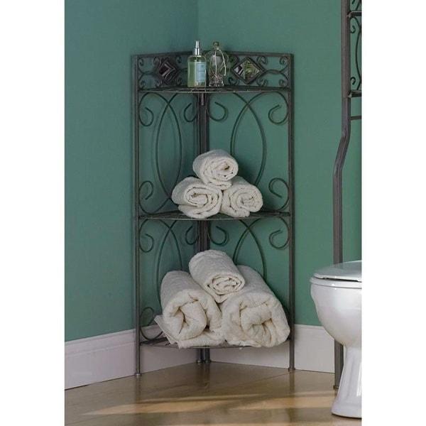 Spacing Saving Corner Bathroom Linen Rack with 3 Shelves in Pewter Metal Finish