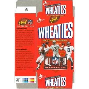 John Elway unsigned Denver Broncos Mini Wheaties Box (Flat) Commemorative Box unused w/Marino & Aikman