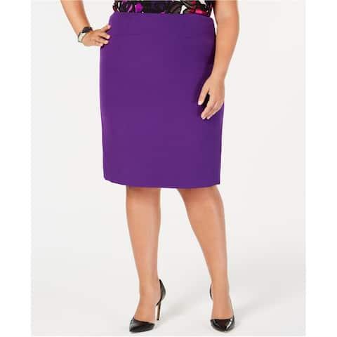 Kasper Womens Zip-Back Pencil Skirt, Purple, 16W
