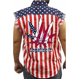 Men's Biker USA Flag Sleeveless Denim Shirt Legalize It Pot Marijuana Weed Blunt