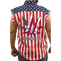Men's Biker USA Flag Sleeveless Denim Shirt Legalize It Pot Marijuana Weed Blunt