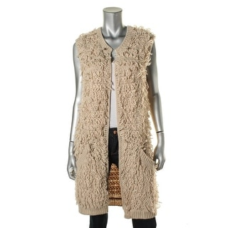 Sanctuary Womens Fringe Open Front Cardigan Sweater - S