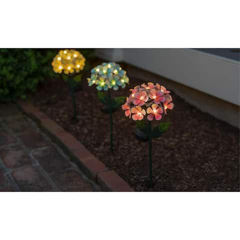 Solar LED Metal Flower Stake Lights- 3 Colors