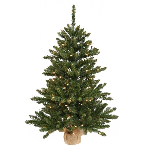 "3' x 20"" Anoka Pine Artificial Christmas Tree in Burlap Base - Clear Dura Lights"