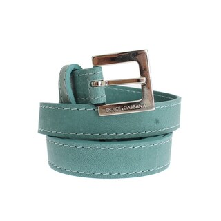 Dolce & Gabbana Green Leather Silver Buckle Logo Belt - 90-cm-36-inches