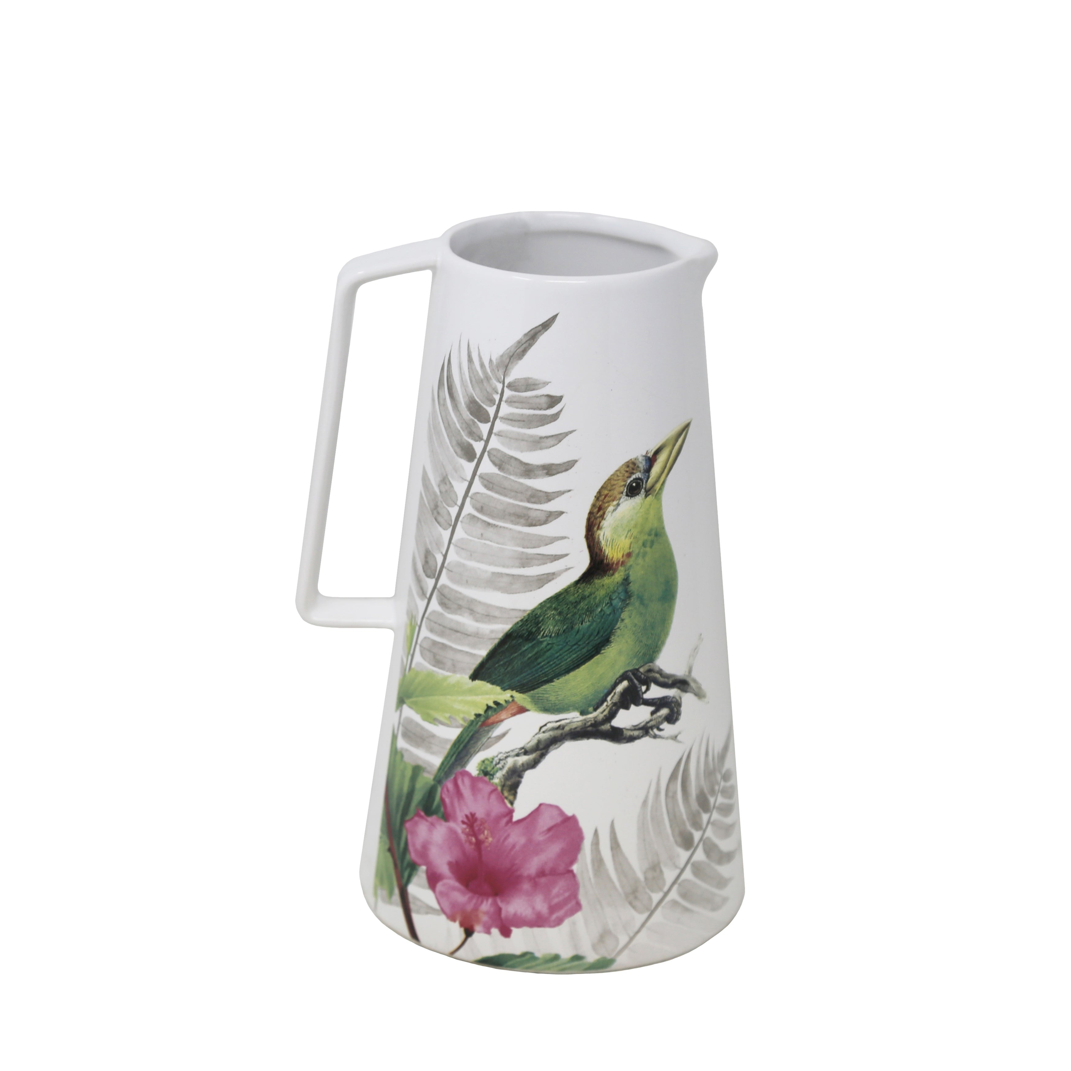 Polyresin Bird and Flower Printed Pitcher Vase with Small Mouth Opening, Multicolor