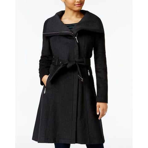 BCBGeneration Women's Charcoal Gray A-Line Belted Wool Asymmetrical Zip Coat