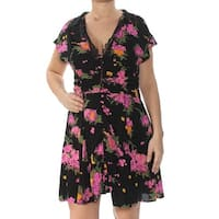 FREE PEOPLE Womens Black Floral Lace Trim Short Sleeve V Neck Above The Knee Fit + Flare Dress  Size: 12