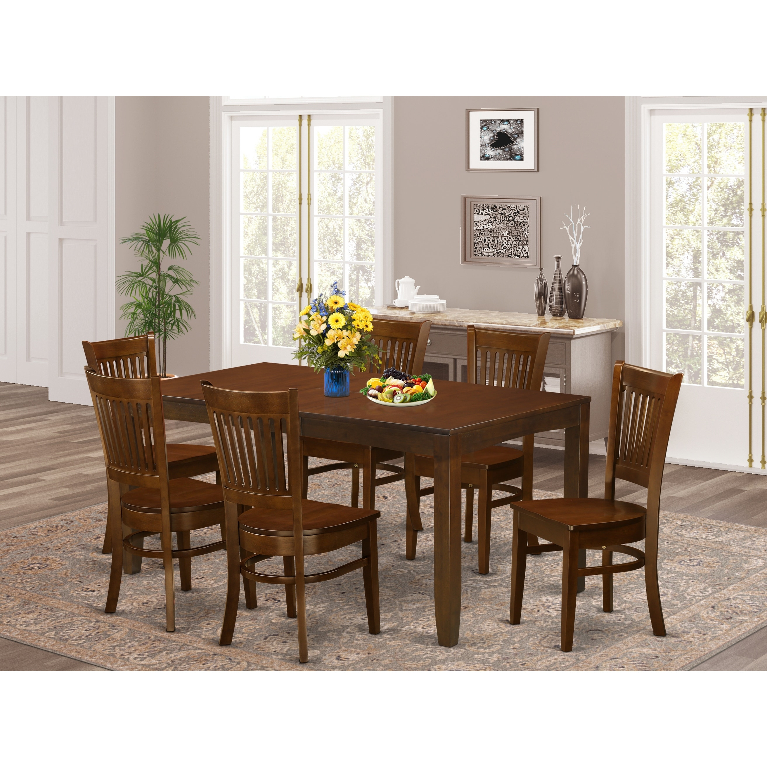 Picture of: Lyva7 Esp 7 Piece Lynfield Dining Table With One 12 Leaf And Six Kitchen Chairs In Espresso Color Overstock 14366558
