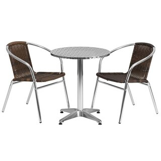"""Offex 23.5"""" Round Aluminum Indoor-Outdoor Table With 2 Rattan Chairs"""