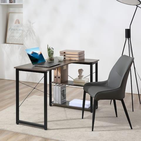 HOMCOM L-Shaped Computer Desk Home Office Corner Desk Study Workstation Table with 2 Shelves