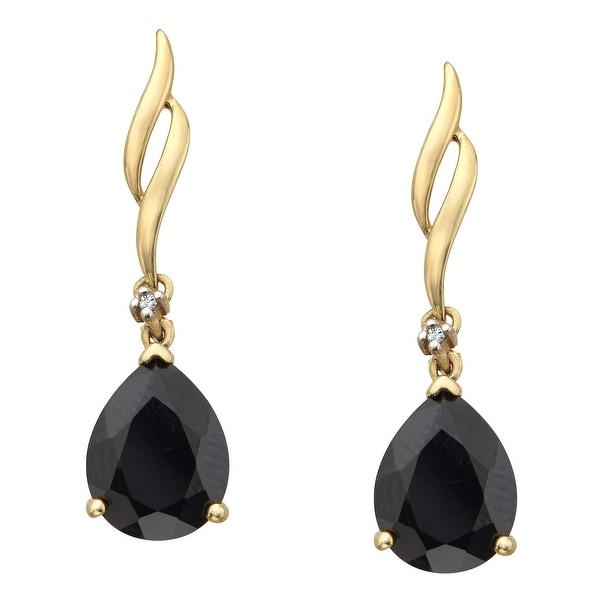 3 1/5 ct Onyx Drop Earrings with Diamonds in 10K Gold - Black