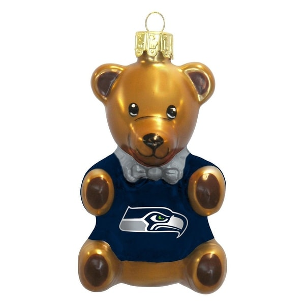 Seattle Seahawks 3.5 Blown Glass Teddy Bear Ornament""
