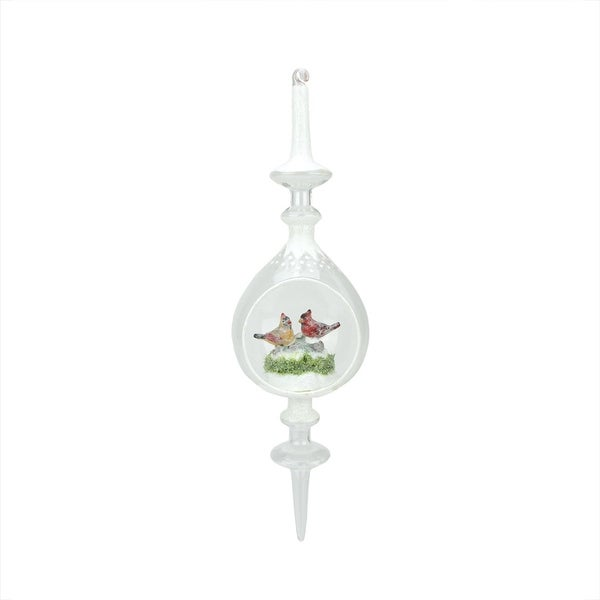 "12.5"" Winter Scene with Red Cardinal Birds Inside of Glass Christmas Pendant Finial Ornament"