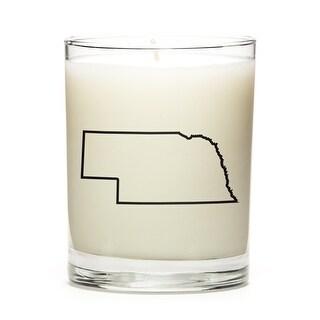 State Outline Candle, Premium Soy Wax, Nebraska, Fresh Linen