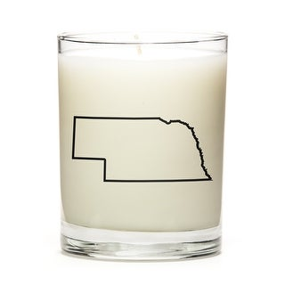 State Outline Soy Wax Candle, Nebraska State, Peach Belini