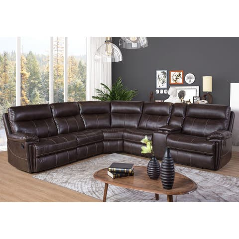 Abbyson Caterina Brown 6 Piece Reclining Sectional