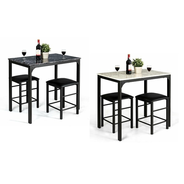 3 Piece Dining Set Bar Stools Pub Table Breakfast Chairs: Shop 3 Piece Counter Height Dining Set Faux Marble Table 2