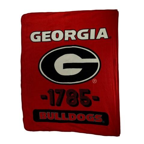Retro Georgia Bulldogs Plush Micro Raschel Throw Blanket - Red