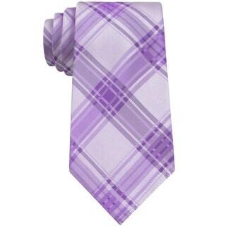 Calvin Klein CK Light Purple Icicle Plaid Slim Silk Tie Necktie