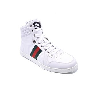 Gucci Mens White Guccissima Leather HighTop Sneakers Size U.S. 6