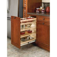 """Rev-A-Shelf 448-BC-14C 448 Series 14"""" Wide Pull Out Base Organizer for 15"""" Full Height Base Cabinet - Natural Wood"""